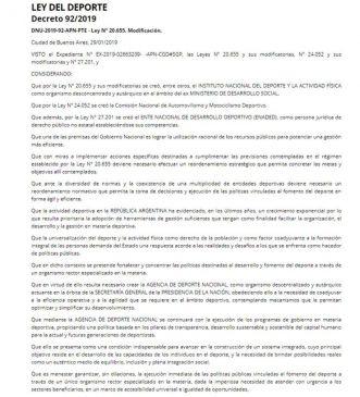 Un trecho del Boletín Oficial sobre la creación de la Agencia de Deporte Nacional (Crédito: Boletín Oficial)