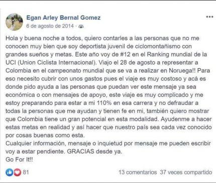 El post de Egan Bernal en 2014