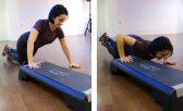 Flexão de braço no step